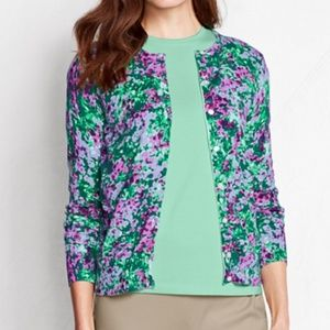 Lands End Supima Cardigan Sweater Lilac Floral